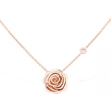 Rose love 18k pink gold with 0.05 Cts diamond pendant
