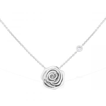 Rose love 18k white gold with 0.05 Cts diamond pendant