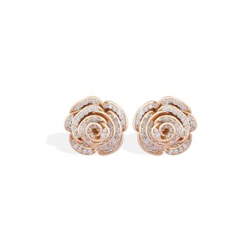 Diamond earrings with 18k pink gold