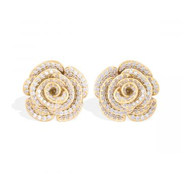 Classic diamond earring with 18k yellow gold