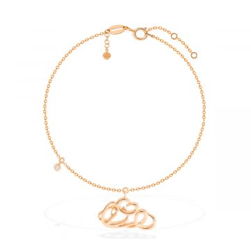 Single diamond 0.03 Cts with 18k pink gold anklet