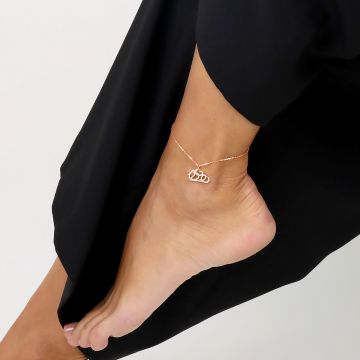 Cloud love diamond pink gold anklet
