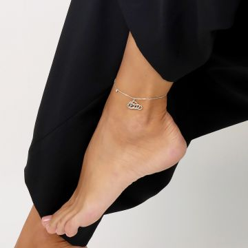 Single diamond 0.03 Cts with 18k white gold anklet