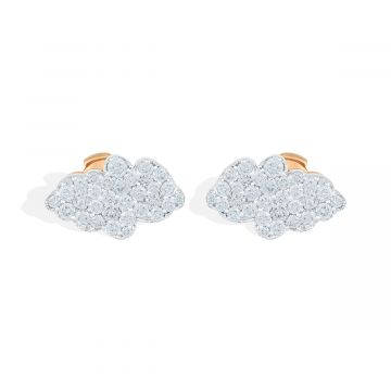 2.30 Cts diamond white pink gold earring
