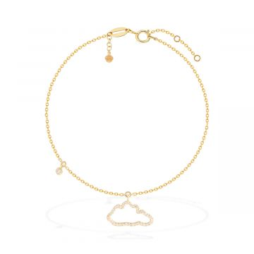18 yellow gold with 0.14 Cts diamond anklet