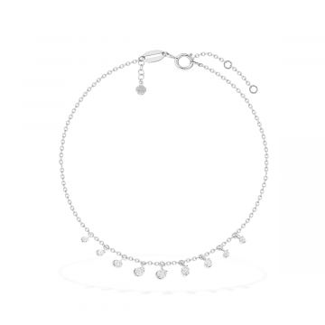 Moon life 18k white gold and diamond anklet