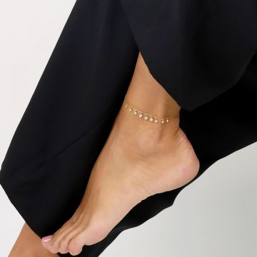 Moon life 18k yellow gold and diamond anklet