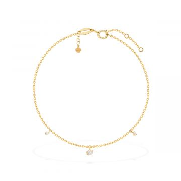 Moon love 18k gold 0.25 Cts diamond anklet