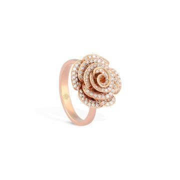 Diamond ring  for women in pink gold