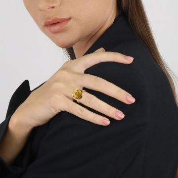Rose love you 18k yellow gold ring