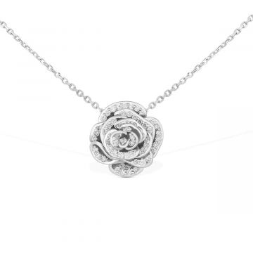 Necklace chain 18 white gold with rose pendant