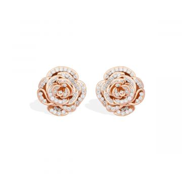 Pink color 18k gold diamond earring