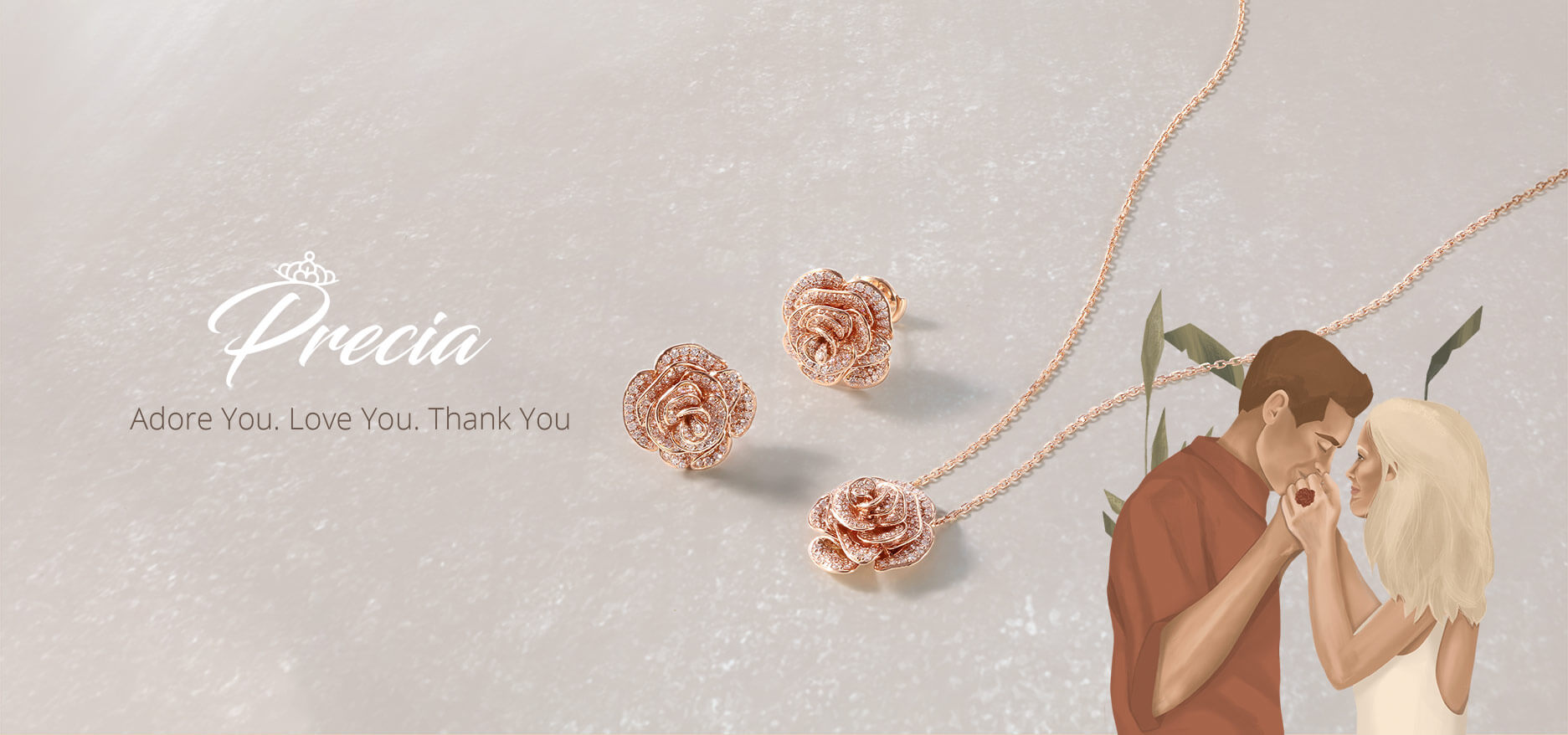 pink gold pendants and bracelets with diamonds